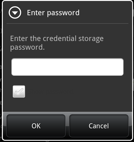 5. Create a credential storage password. This password is required if you ever need to edit, reinstall, or delete the certificate.
