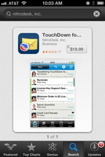 Install TouchDown Use TouchDown to create the Exchange ActiveSync account that interfaces with the GO!Enterprise MDM server. Install TouchDown first, then install and enroll GO!