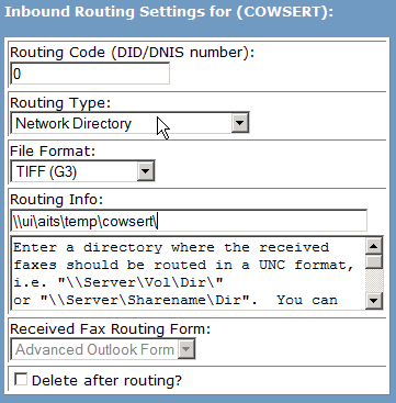 Edit Inbound Routing Settings/Granting Fax Numbers 1. Select Inbound Routing. 2. Enter the Routing Code (DID/DNIS number).