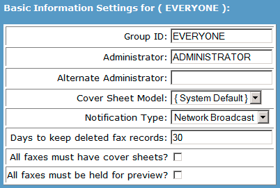Creating Groups of Users 1. Log into https://fax.apps.uillinois.edu/webefm 2. Expand server listed on left hand frame. 3. Expand Groups folder and select. 4. Click a Add Group button. 5.
