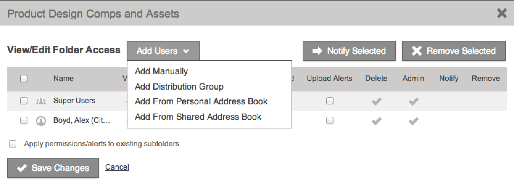 Sharing files with existing users Once you have granted new users access to your account, you can share folders with them in a few simple steps through the Folder Access list.
