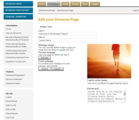 Editing Your Fundraising Page To edit your fundraising page, click the My Webpage tab in your fundraising Headquarters.