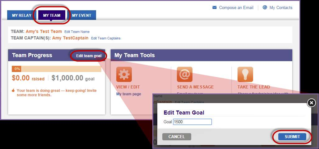 2. From the My Team tab, click Edit team goal in the Team Progress box (top left hand side) 3. Enter a new team goal before clicking Submit.