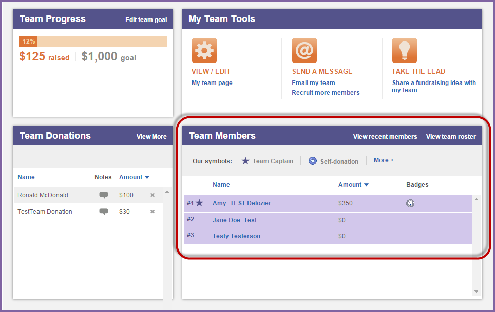 View a List of Team Members 1. Using your username and password, log into your Relay Dashboard. 2. From the My Team tab, locate the Team Members section (middle right hand side of the page). a. See a list of all team members plus their fundraising successes and milestone levels.