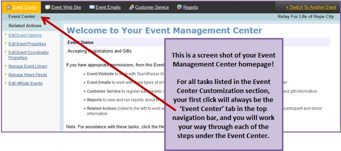 Edit Event Options 1. From the Event Management Center, click Event Center in the top Navigation Bar. 2. Under Related Actions (left hand side of the page), click Edit Event Options. 3.
