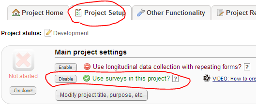 Enable survey in the project Project Setup 1.