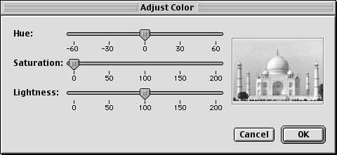 Chapter 4 Viewing Images Editing Images (3/4) Adjusting colors You can change the appearance of an image by adjusting its colors. Click (Adjust Color) to display the Adjust Color dialog box.