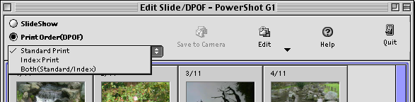 Appendices Setting up DPOF Prints (1/2) If the camera comes with the DPOF feature, you can use ImageBrowser to save images and the number of copies that you want to print on a CF card.