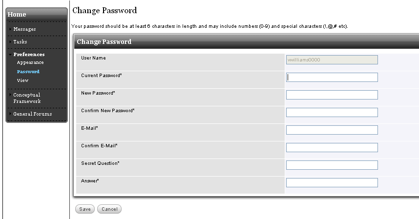 Chapter 2 Home 2.3 Preferences The Preferences section allows you to change your password, view of the site, and the default role that will be seen when logging into the system.