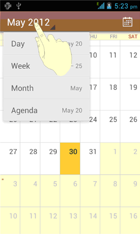 You can also change to Day view from Month view by touching any day in the grid. TIPS: In Month view, swipe vertically to see earlier months and later months.