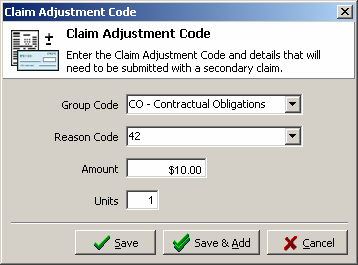 This is the Claim Adjustment Code screen which will list the current codes associated with this payment. Click Add to add a new code to the list.