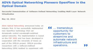 EU FP7 Project OFELIA OpenFlow in Europe Linking Infrastructure and Applications Started September 2010 Duration: 3 years Total budget 6.3M, funding 4.