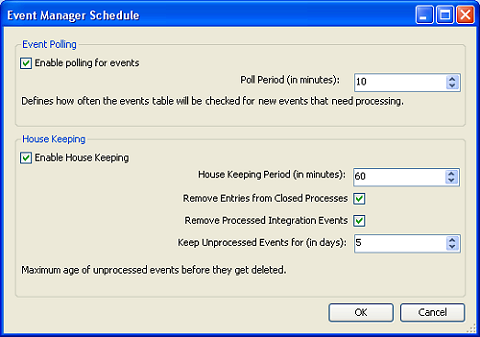 CONFIGURING EVENT MANAGER Scheduling and house keeping If you are using Post events, you need to set how frequently the Events table is monitored for new events that need processing.