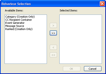 LANDESK SERVICE DESK EVENT MANAGER GUIDE 3. Click Yes. The Behaviour Selection dialog appears. 4. In the Available Items list, select Event Generator, then click.