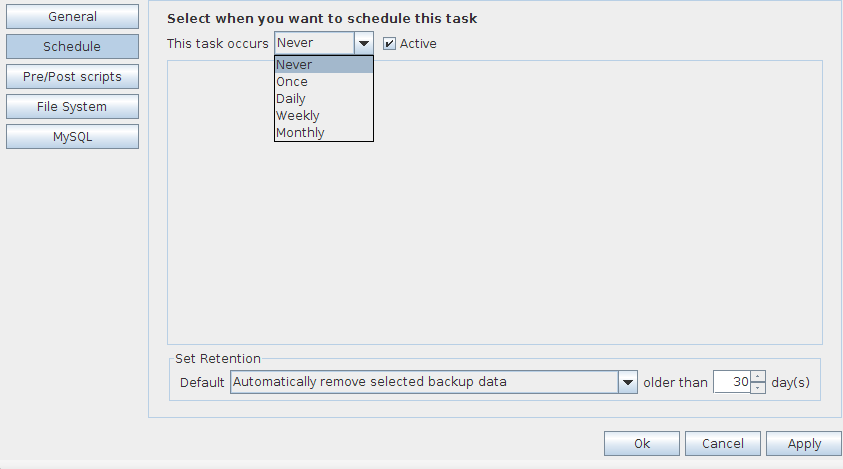o MySQL Change task Select the task in the tree view, and click on Edit Task. The Task Properties will open, and you can configure: o General o Schedule o Pre/Post scripts o File system o MySQL 5.2.