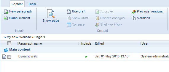 Figure 6. A content placeholder shows up in the administration. Create a paragraph with some content and preview the page.