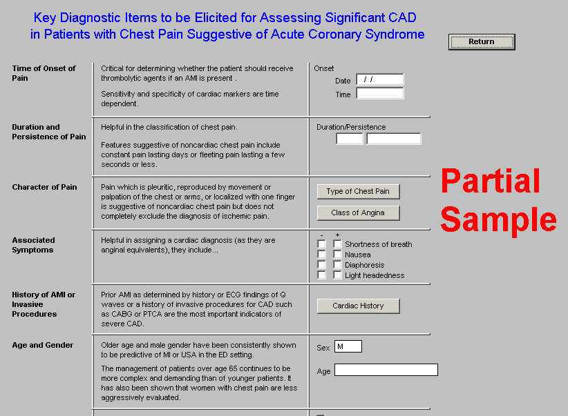 The full name of this template is, Key Diagnostic Items to be Elicited for Assessing Significant CAD in Patients with Chest Pain Suggestive of Acute Coronary Syndrome.