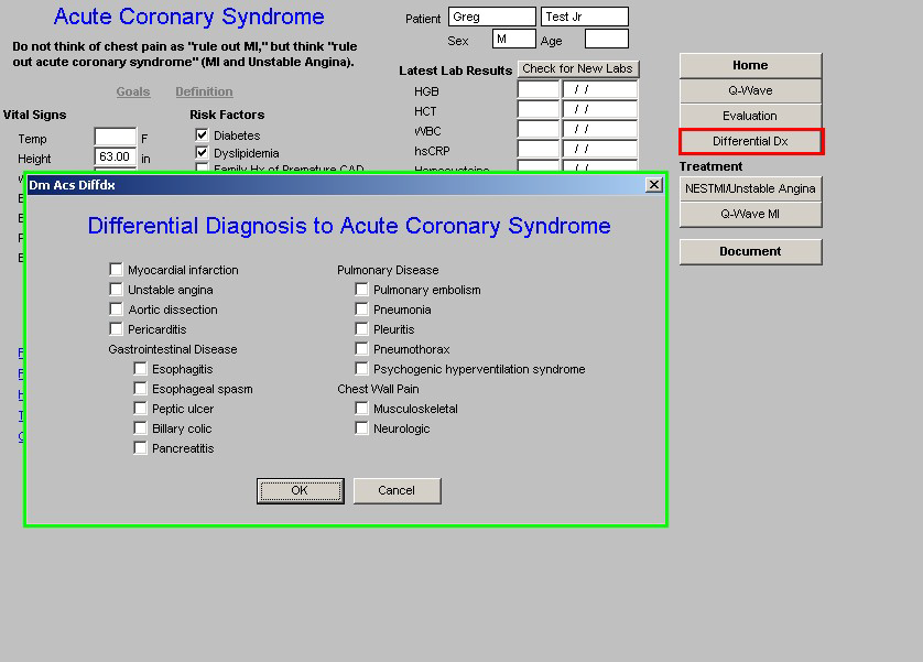 Differential Diagnosis Template This is a pop-up which displays other potential causes