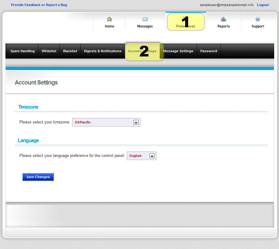 Manage your Account Account Settings Enter the correct timezone so message are converted to your local time.