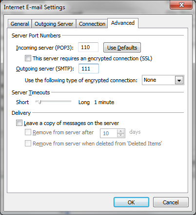 7. Click on the Advanced tab, and you will see this: Change the Outgoing server (SMTP) port to