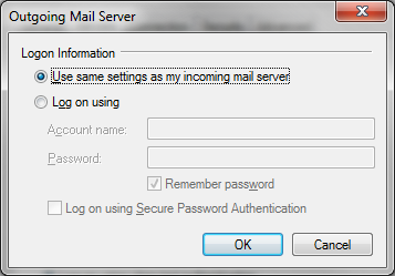 3. Click on the Settings button under Outgoing Mail Server, and you will