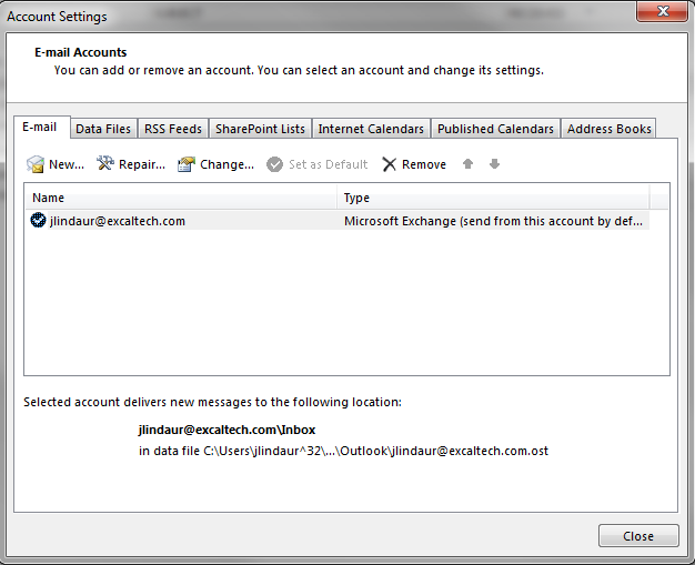 Outlook 2013 1. To Start, If you are in Outlook Go to the File tab > Account Settings > Account Settings 2.