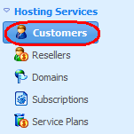 Once done, click OK. Your New Customer will be listed and is ready for use. Adding a domain to your server Each domain name must be associated with a customer, or contact, responsible for it.