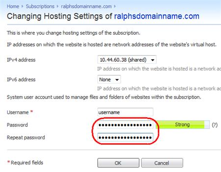 Step 4 You will see the Overview screen for the Hosting subscription. Click Change Hosting Settings.
