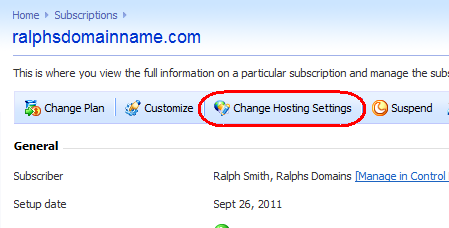 Step 3 Your hosting subscriptions will be listed.