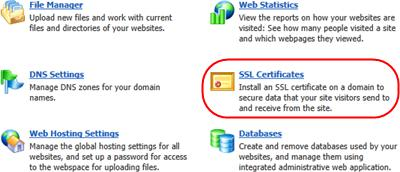 Step 3 Select the Websites & Domains tab. Step 4 Click on the SSL Certificates icon. Step 5 Click the Add SSL Certificate icon. Step 6 Enter a Certificate Name to help you identify this certificate.