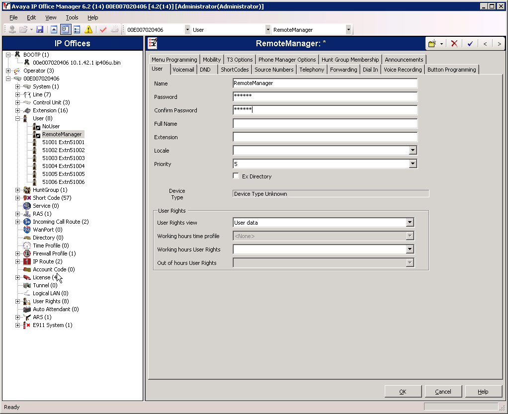 Step Description 2. Avaya IP Office Manager Window. The main Avaya IP Office Manager window appears.