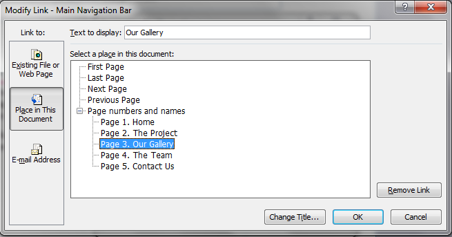 Figure 2: Changing the Navigation Bar 4. From this dialog box you need to choose the link you wish to change by highlighting it, and then clicking Modify Link.