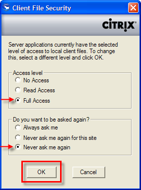 How to Verify Your Citrix Permissions to Save to Your Desktop:. 1. During the citrix client installation, you may be prompted for session security.