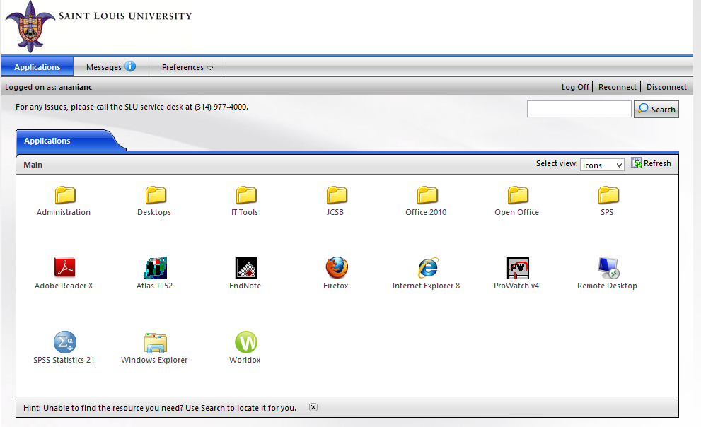 10 The Citrix homepage lists all the applications available for use.
