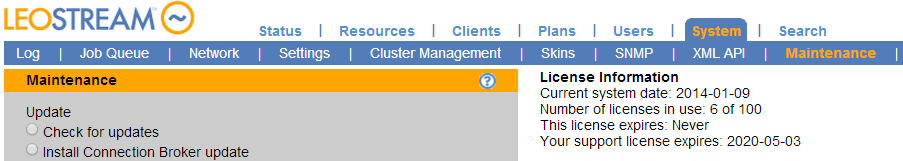 Quick Start Chapter 3: Managing Your License The Connection Broker displays the number of your licenses currently in use at the bottom of any page. To manage your Connection Broker license: 1.