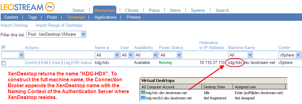 Quick Start desktop via XenDesktop. In summary, the user s name must appear in the Assigned User column, as shown in the following figure.