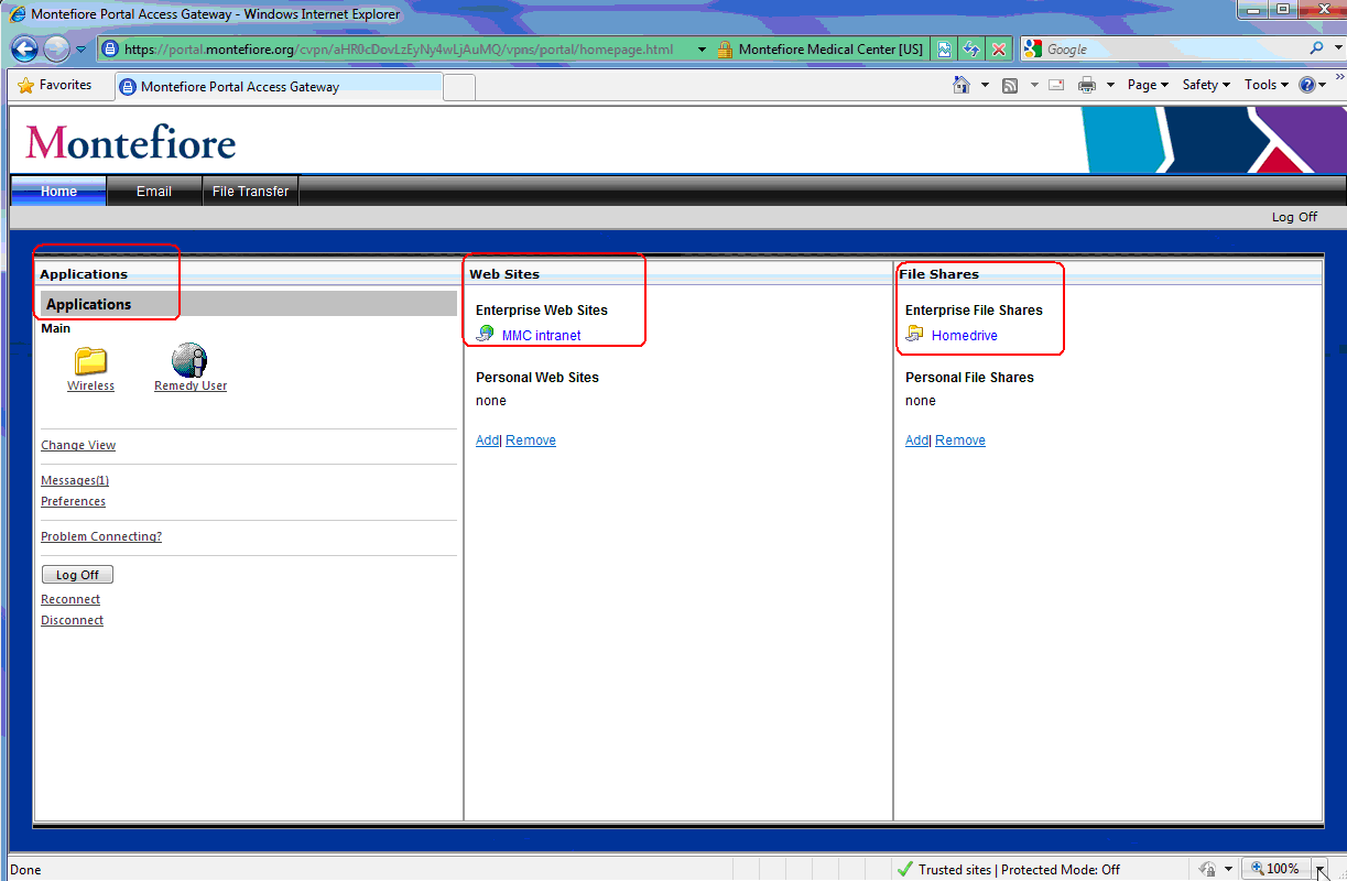 Access Interface The Access Page lists the available Citrix published applications (based on what is provisioned for your username) along