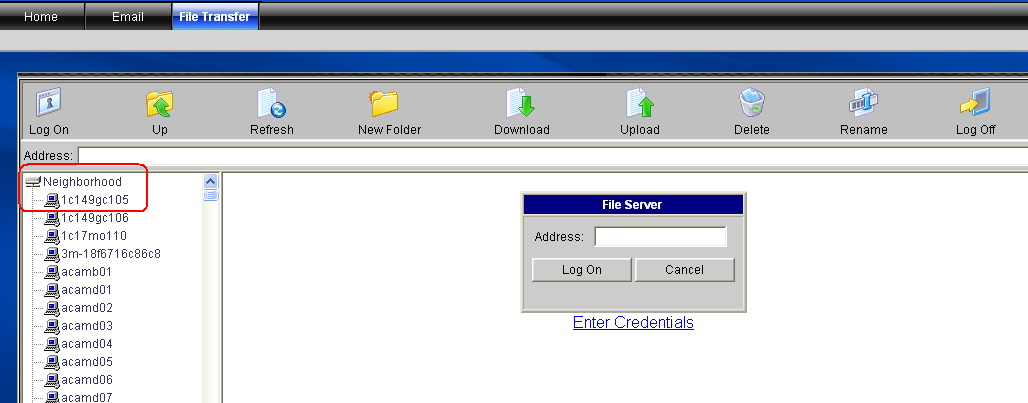Connecting to Network Resources in the Right Panel The right panel displays the File Server window. Use this window to log on to a file server in the internal network. 1.