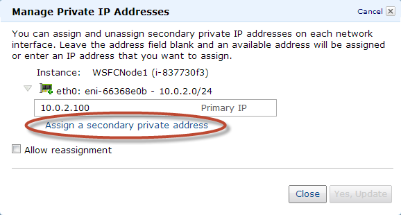 2. Open the Amazon EC2 console, select the first WSFC node (WSFCNode1), and then right-click to select Manage