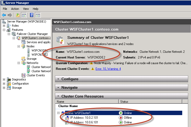 21. Select the Cluster Name, right-click it and select Bring this resource online. 22. Note how the cluster network name (e.g., WSFCluster1.contoso.
