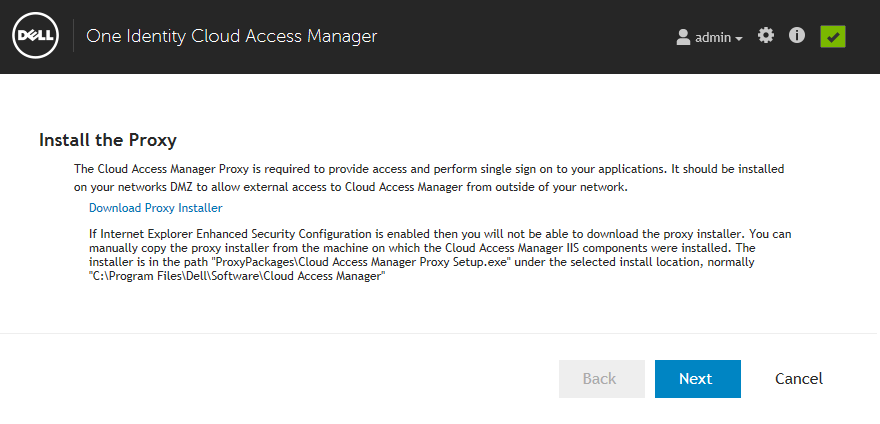 13 Enter credentials that have administrative privileges for the Microsoft SQL Server instance (typically a member of the administrators group) that will be used by Cloud Access Manager.