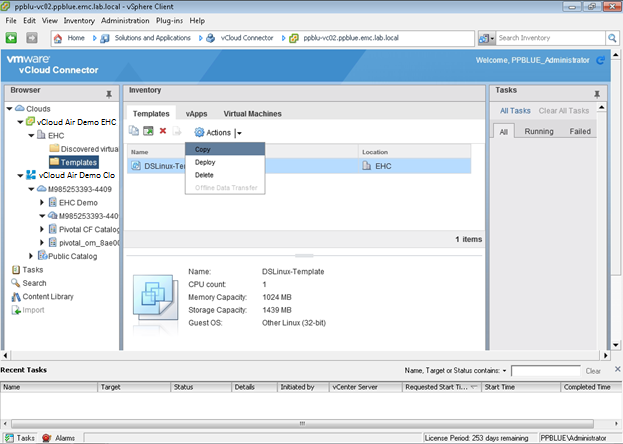 Figure 37. vcloud Connector EMC Enterprise Hybrid Cloud to vcloud Air copy 5. During the copy process, you will be prompted to select features: a.