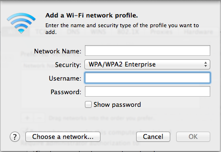 6. You should see the window below: Enter the following information: Network name: nyu (case sensitive) Security: Select WPA/WPA2 Enterprise from the drop down box. Username: Enter your NYU Net ID.