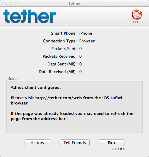 The Tether application on the Mac OS X machine should be
