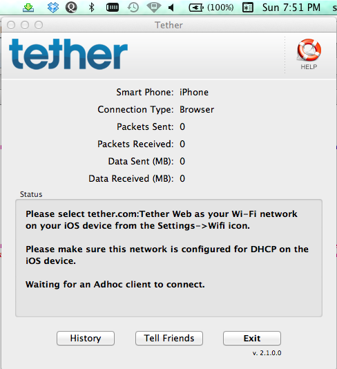 Once you click OK, the Tether application will setup your ad-hoc network.
