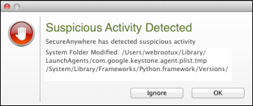 Getting Started Responding to alerts If SecureAnywhere detects a potential threat on your Mac, it may open an alert similar to the following example.