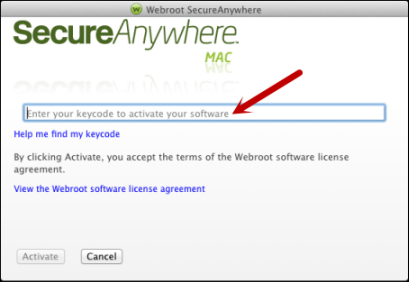 Getting Started 7. In the next panel, enter your keycode and click the Activate button. Your keycode is the 20-character license that identifies your Webroot account.