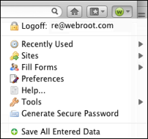 Passwords 3. Once you are logged in, click on the icon again to display the Passwords dialog.