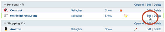 Open the Password functions by clicking the Webroot icon in the toolbar. For Safari/Chrome (see the example below), click the site name or the arrow (>) to move to the next dialog, then click Edit.