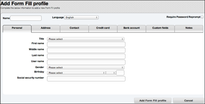 SecureAnywhere for Mac User Guide SecureAnywhere website. Log in to my.webrootanywhere.com and click Go to Passwords. Under MyIdentity actions, click Add Form Fill profile.